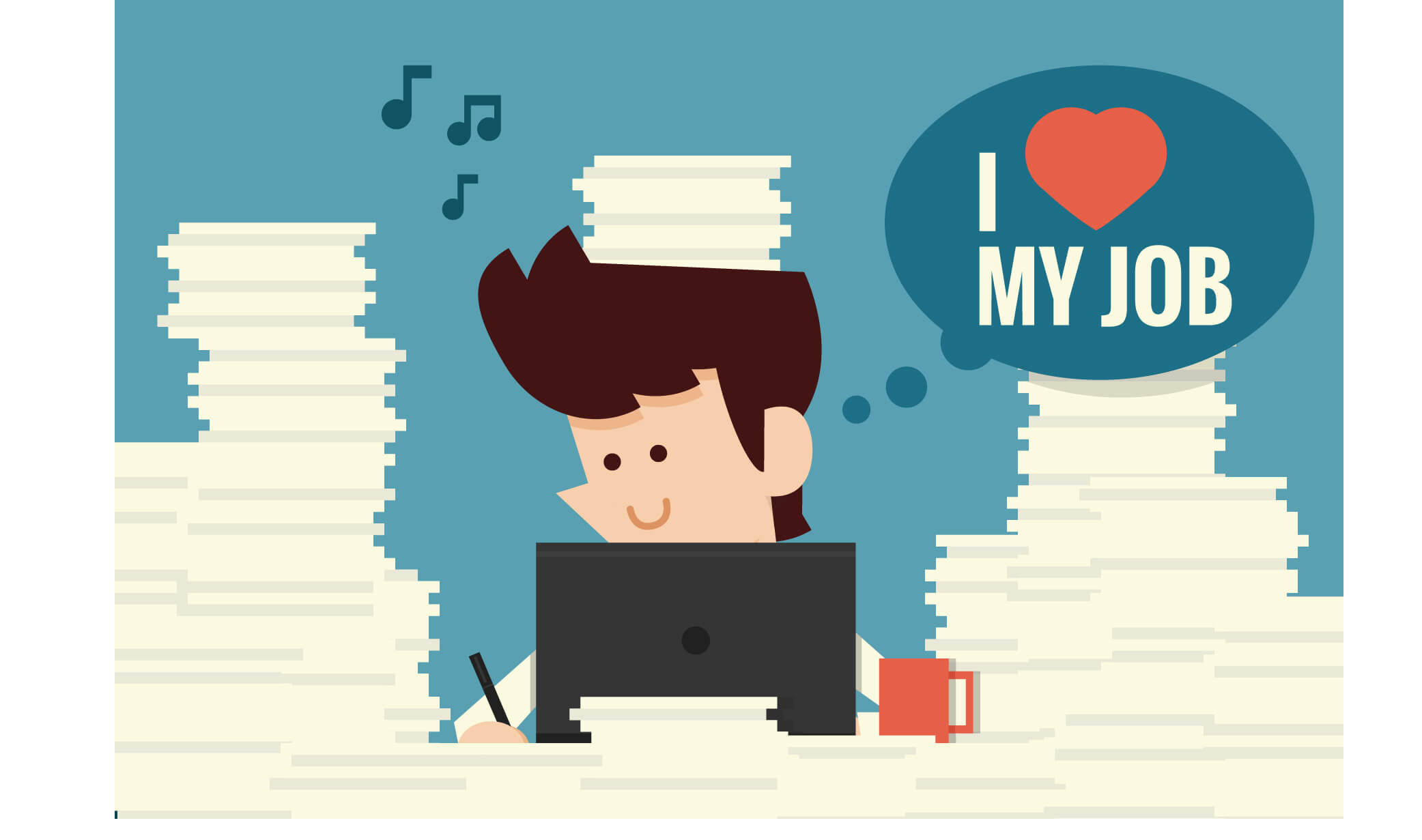 """A smiling cartoon figure works at his desk with a text bubble that says, """"I love my job"""""""