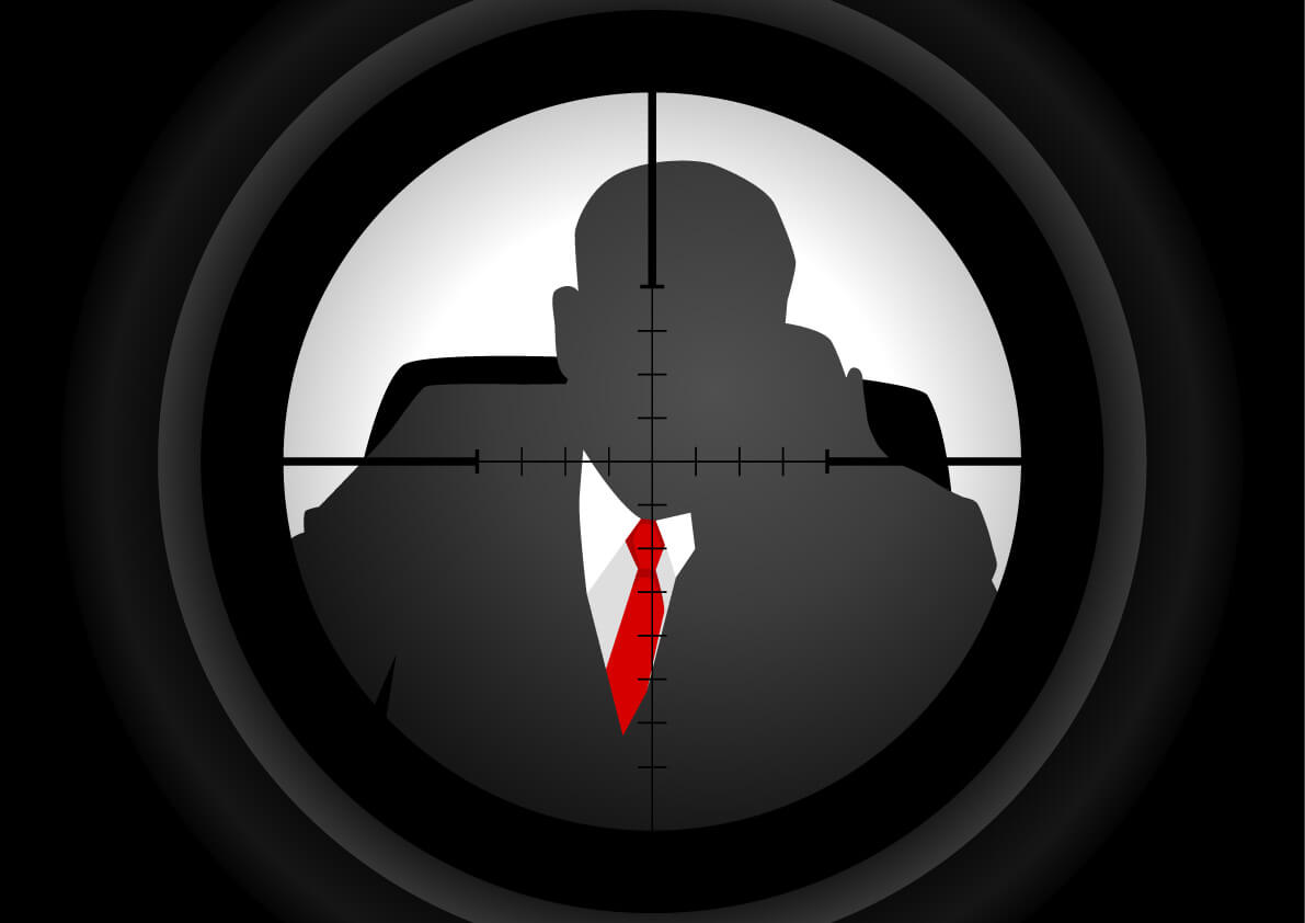 a graphic of a business man in an assassin's targeted sights
