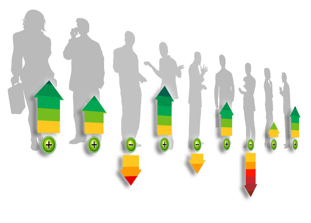 Up and down arrows on silhouettes of employees indicate their level of engagement