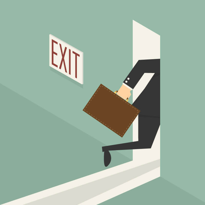 a cartoon businessman exits the door. this could be prevented with employee engagement.